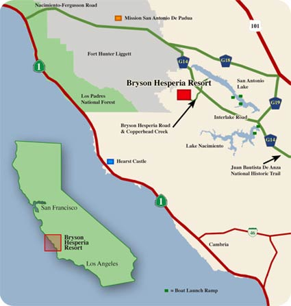 Map Directions to Bryson Hesperia ResortBoar Hunting Wild Pig